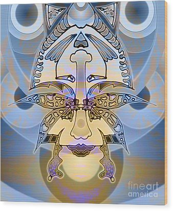 Commemorative Upside Down Masg Art By Topsy Turvy Ambigram Artist L R Emerson II Wood Print by L R Emerson II