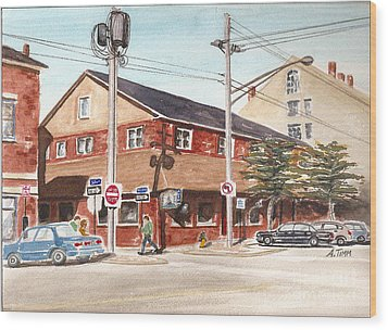 Commercial Street Pub Wood Print by Andrea Timm