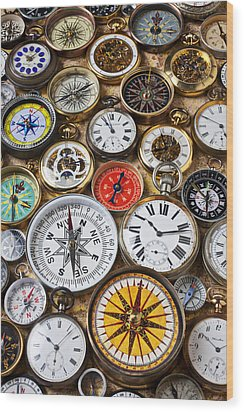 Compases And Pocket Watches  Wood Print by Garry Gay