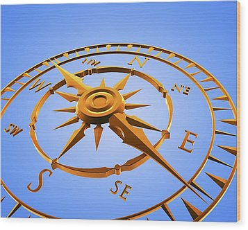 Compass Rose Wood Print by Pasieka