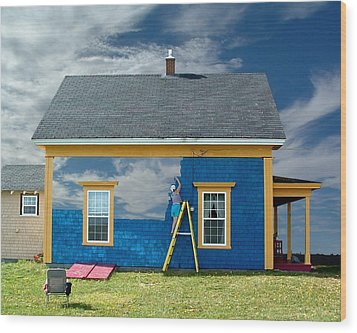 Composite - Blue Sky House Wood Print