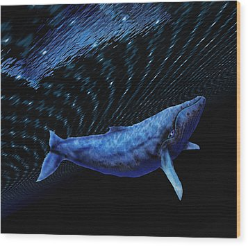 Computer Artwork Of A Humpback Whale Wood Print by Victor Habbick Visions