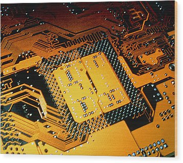 Computer Artwork Of Personal Computer Motherboard Wood Print by Laguna Design