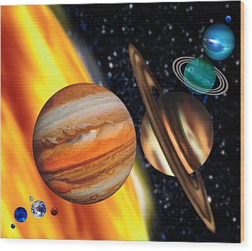 Computer Artwork Showing Relative Sizes Of Planets Wood Print by Victor Habbick Visions