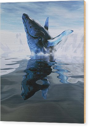 Computer Illustration Of A Humpback Whale Wood Print by Victor Habbick Visions