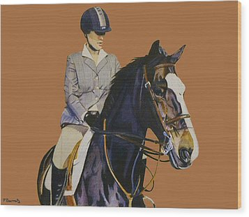 Concentration - Hunter Jumper Horse And Rider Wood Print by Patricia Barmatz