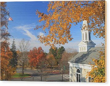 Concord Massachusetts In Autumn Wood Print by John Burk