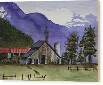 Concrete Barn Watercolor Wood Print by Mary Gaines