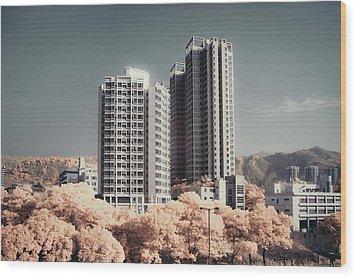 Concrete Highrise Buildings Wood Print by Yiu Yu Hoi