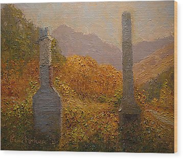 Concrete Tombstones Wood Print by Terry Perham