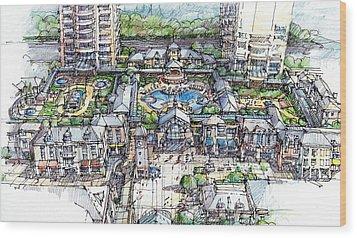 Condominium Wood Print by Andrew Drozdowicz