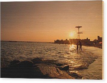 Coney Island Beach Sunset - New York City Wood Print by Vivienne Gucwa