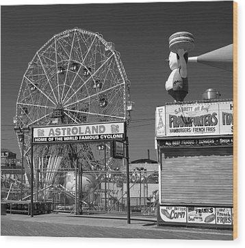 Coney Island Ny Wood Print by Raymond Earley