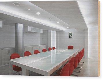 Conference Room Interior Wood Print by Setsiri Silapasuwanchai