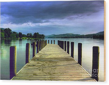 Coniston Jetty Wood Print by Neil Wharton