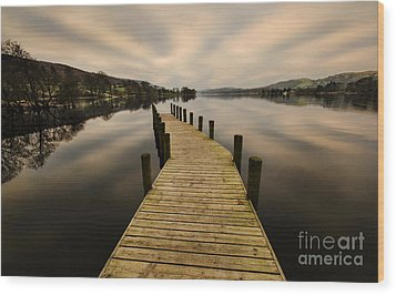 Coniston Water Jetty Wood Print by John D Hare
