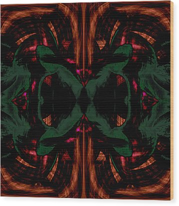 Conjoint - Copper And Green Wood Print by Christopher Gaston