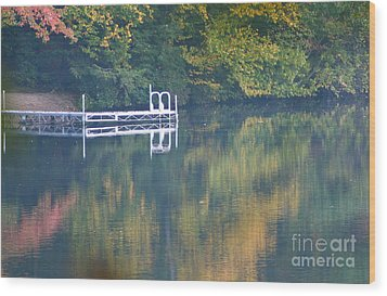 Connecticut Autumn Reflections Wood Print by Cindy Lee Longhini