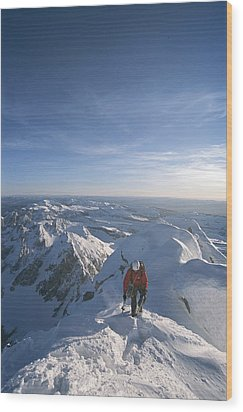 Conrad Anker Summits A Mountain Wood Print by Jimmy Chin