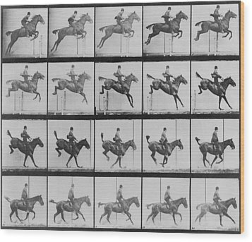 Consecutive Images Of Man Riding Wood Print by Everett