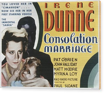 Consolation Marriage, Irene Dunne Wood Print by Everett