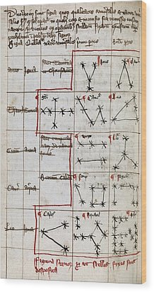 Constellations, 14th Century Manuscript Wood Print by Middle Temple Library