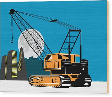 Construction Crane Hoist Retro Wood Print by Aloysius Patrimonio