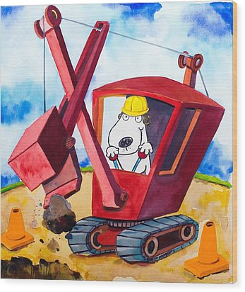 Construction Dogs 2 Wood Print by Scott Nelson