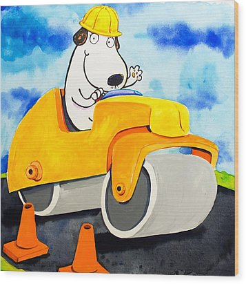Construction Dogs 3 Wood Print by Scott Nelson