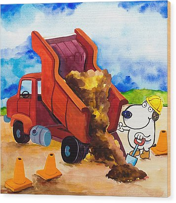 Construction Dogs 4 Wood Print by Scott Nelson