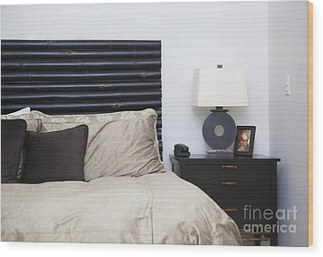 Contemporary Bed And Nightstand Wood Print by Inti St. Clair