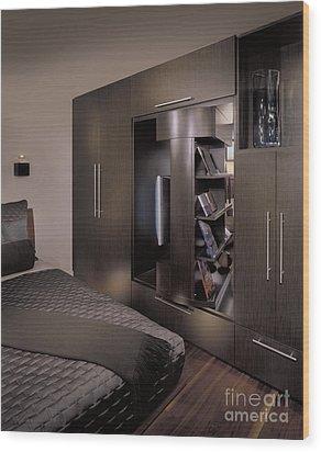 Contemporary Bedroom Wood Print by Robert Pisano