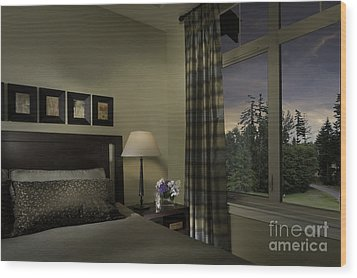 Contemporary Bedroom With Window Wood Print by Robert Pisano