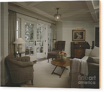 Contemporary Sitting Room Wood Print by Robert Pisano