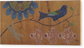 Wood Print featuring the mixed media Contemporary Whimsical Bird On A Wire In Pastel-like Colors With Flowers And Dragonfly by M Zimmerman