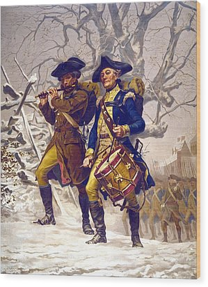 Continental Army Color Guard, Playing Wood Print by Everett