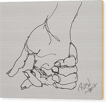 Wood Print featuring the drawing Contour Hand Study 01 by Rand Swift
