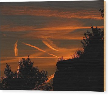 Wood Print featuring the photograph Contrails At Play by Nikki McInnes