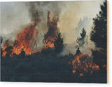 Controlled Fires Burn Eagerly In Small Wood Print by Melissa Farlow