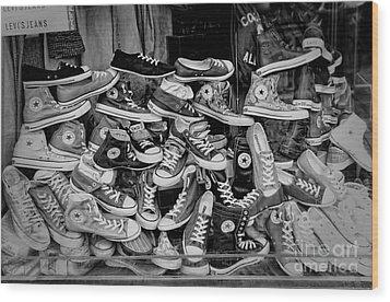 Converse Running Shoes Wood Print by Helen  Bobis
