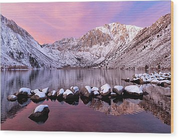 Convict Lake Sunrise With Fresh Snow Wood Print by Justin Reznick Photography