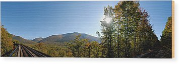 Conway Scenic Railroad  - Longtrack View Wood Print by Geoffrey Bolte