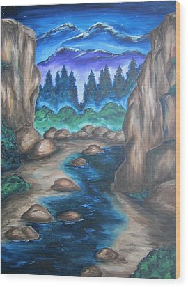 Wood Print featuring the painting Cool Mountain Water by Cheryl Pettigrew