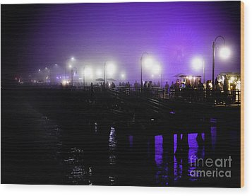 Cool Night At Santa Monica Pier Wood Print by Clayton Bruster