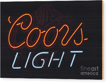 Coors Light Wood Print by Juls Adams