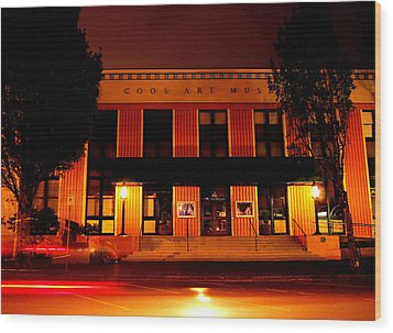 Coos Art Museum At Night In Coos Bay Wood Print by Gary Rifkin