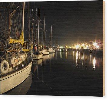 Coos Bay Sailboats At Night Wood Print by Gary Rifkin