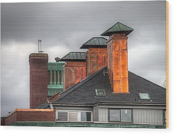Copper-lined Chimneys On A Grey Sky Wood Print by Matthew Green