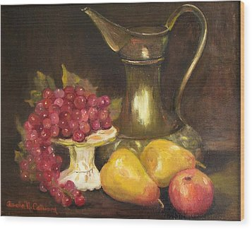 Copper Pitcher With Fruit Wood Print by Aurelia Nieves-Callwood