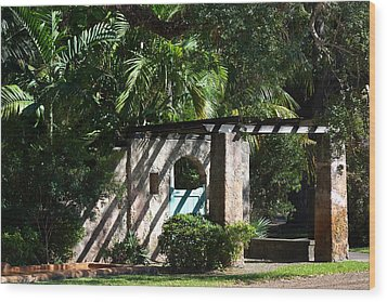 Wood Print featuring the photograph Coral Gables Gate by Ed Gleichman